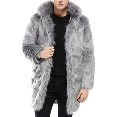 M-5XL Hooded Faux Fur Warm Trench Coat-US$62.96