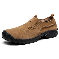 Men Slip On Hiking Casual Leather Shoes-RM222.33