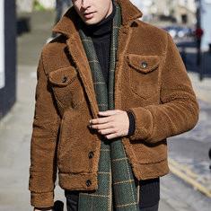 Fleece Warm Turn Down Collar Design Jacket -US$38.70