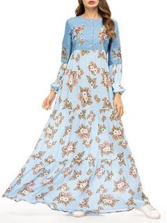 Long Sleeve Muslim Long Dress -US$39.99