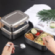 Stainless Steel Lunch Box Bento Box whitn 3 Compartments Food Container - RM55.06