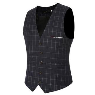 Fashion Wedding Dress Plaid Vest Slim Fit Busines-US$19.63