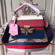 Gucci Queen Margaret Leather Top Handle Bag Red and Blue RM1,400.00