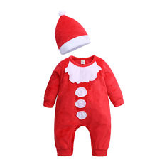 Christmas Style Baby Romper with Hat For 0-24M