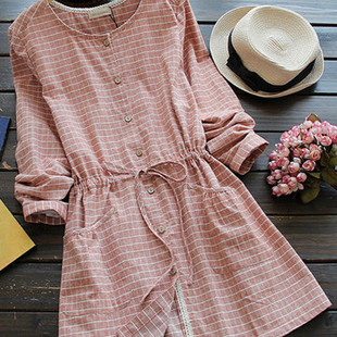 Casual Cute Lace Patchwork Plaid Dresses -US$33.75