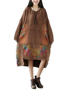 Printed O-neck Stitching Long Sweatshirt Dress -US$55.99