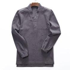 Men Linen National Style Pullover Shirt -US$23.69