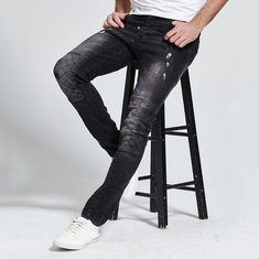 Fashion Ripped Mesh Hip Hop 3D Tailoring Jeans-US$27.23