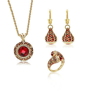 Luxury Red Crystal Statement Ring Charm Necklaces Star Drop Earrings Bridal Jewelry Sets for Women - RM113.62