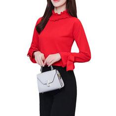 High Neck Long Sleeve Bow Chiffon Shirt-RM106.35