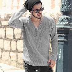 Casual Solid Color Knitted V-Neck Long Sleeved T-shirt-US$25.36