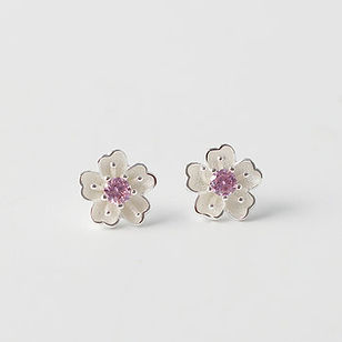 Lovely 925 Sterling Silver FLower Peach Blossom Stud Earrings Purple Zirconia Piercing Earrings - RM79.94