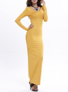Solid Color Long Sleeve U-neck Maxi Dress -US$22.99