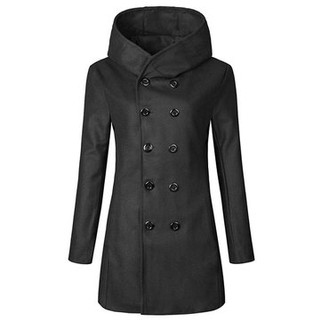 RM128.66-Double-breasted Wool Trench Coat