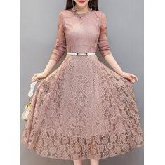 Floral Lace Long Sleeve Elegant Lace Dress-RM148.24