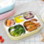 Stainless Steel Lunch Box for School Lunch Bento Containers Rectangle Cartoon 5 Compartments - RM47.62