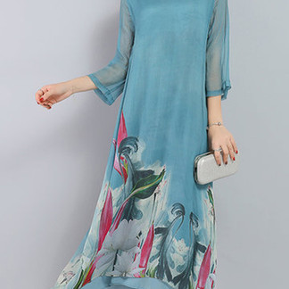Printed 3/4 Sleeve Women Dresses -US$36.99