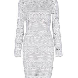 Lace Hollow High Neck Women Dresses -US$32.20