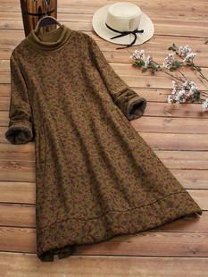 Floral Print Thick Vintage Dress -US$47.99