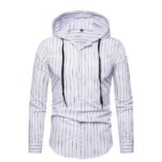Stripe Printing Slim Hooded  Shirt-US$18.36