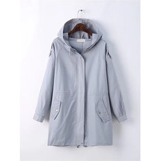 Solid Color Hooded Coat-RM223.35