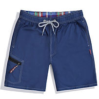 Mens Clothing Multi Pocket Zipper Drawstring Solid Color Quick Dry Elastic Waist Cotton Board Shorts for Men -RM56.75