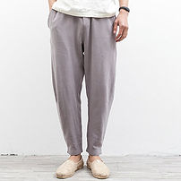 Mens Clothing Linen Solid Color Casual Soft Long Trousers Drawstring Flax Leisure Pants -RM105.89