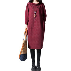 Solid Color Long Sleeve High-neck Casual Dress-RM98.83