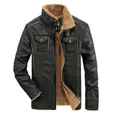 PU Leather Fleece Lining Thickened Jacket-US$67.27