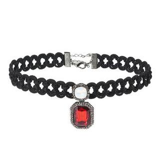 Jassy Women Ruby Sapphire Crystal Choker White Opal Punk Black Woven Necklace-US$14.39