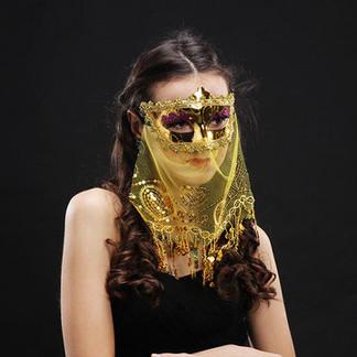 Hazy Veil Edge Sequins India Belly Princess Mask -US$7.73