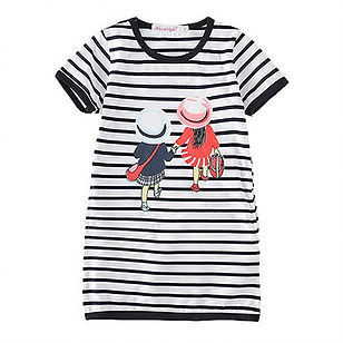 Cute Girls Kids Striped Print Cotton Summer Casual Dresses For 2Y-15Y -US$15.99