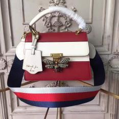 Gucci Queen Margaret Leather Top Handle Bag Red and White RM1,400.00