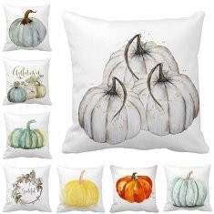 Water Color Punpkin Printed Cotton Linen Cushion Cover-RM23.90