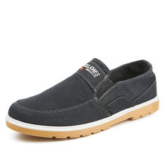 Men Washed Denim Flat Slip On Casual Shoes-RM94.62