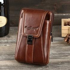 Men Solid Genuine Leather 5/5.5/6 Inch Phone Bag Waist Bag-US$26.38