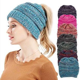 Womens Winter Multifunctional Hat Messy Bun Hat Warm Soft Ponytail Beanie Hat Knit Beanie Cap -RM35.12
