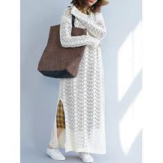 Knit Solid Color Maxi Dress-RM 196.39
