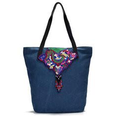 Men Canvas Embroidery Tote Handbag National Shoulder Bag-US$33.29