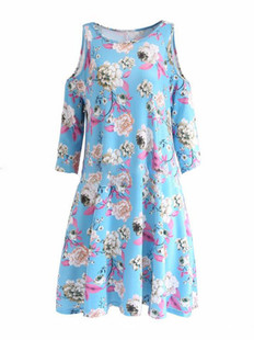 Print Casual Three Quarters Sleeve Dress -US$21.99