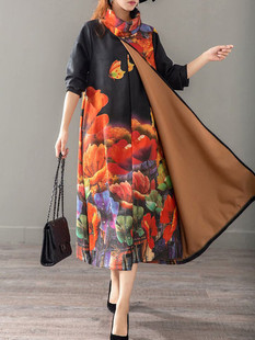 Layered Floral Print Turtleneck Dress -US$93.88