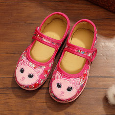 Girls Soft Squichy Embroidered Chinese Dress Shoes