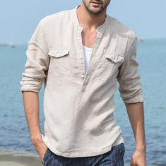 Casual Solid Color Stand Collar Linen Shirt-US$19.44