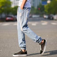 Denim Washed Shredded Holes Jeans Pants-US$15.39