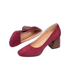 Women Shoes Vintage Pure Color Suede Square Heel Casual Shoes - RM70.50