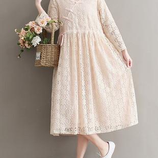 Vintage Long Sleeve Women Lace Dresses -US$27.29