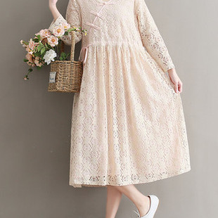 Vintage Long Sleeve Women Lace Dresses -US$27.29