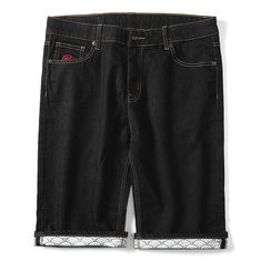 Chinese Style Crane Embroidery Jeans Shorts-US$32.49