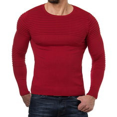 Men's Striped Pleated Round Neck Skinny Knit Sweater-US$24.68