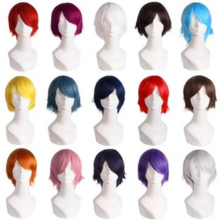 Colorful Short Cosplay Synthetic Wig -US$16.92